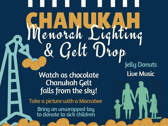Chanukah Menorah Lighting & Gelt Drop
